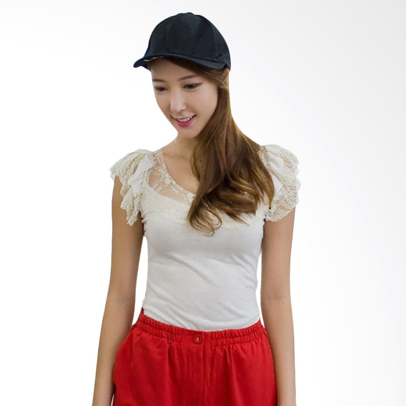 Kakuu Basic Lace Sleeve Cream T-shirt Wanita
