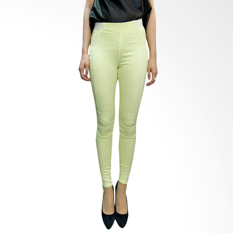 Kakuu Basic Legging Pants Skinny White Band Yellowish Green