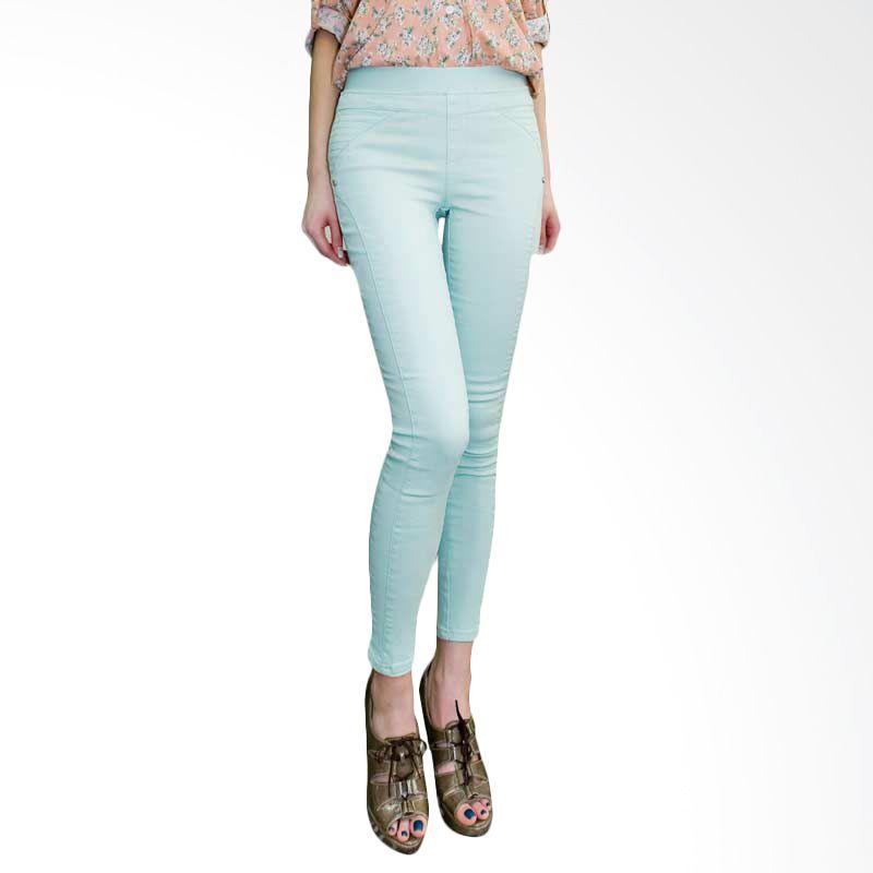Kakuu Basic Pants Banding Waist Skinny Jeans Mint