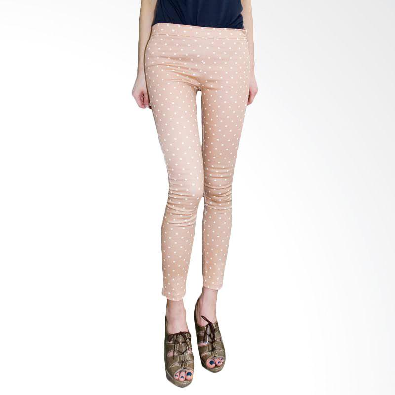 Kakuu Basic Pants Polkadot Skinny Jeans Pink Tone