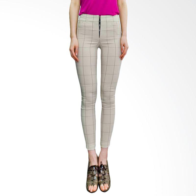 Kakuu Basic Pants Retro Check Skinny Beige