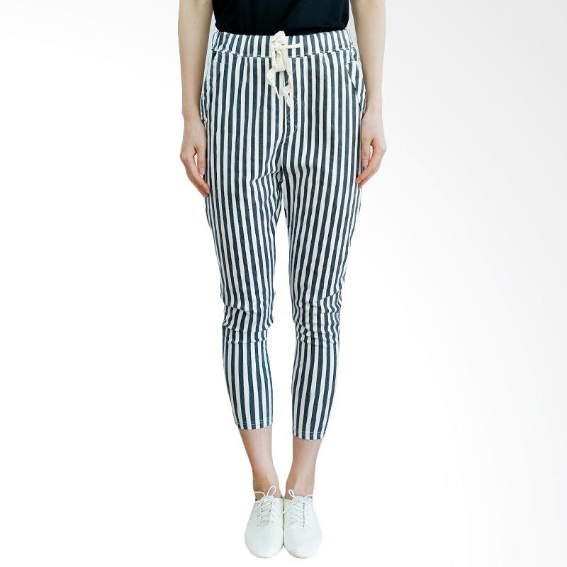 Kakuu Basic Celana Panjang Waist Band Stripe Black Tone