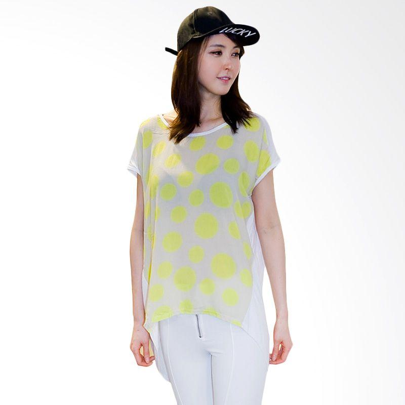 Kakuu Basic Polkadot Loose White Polkadot Lemon T-shirt Wanita