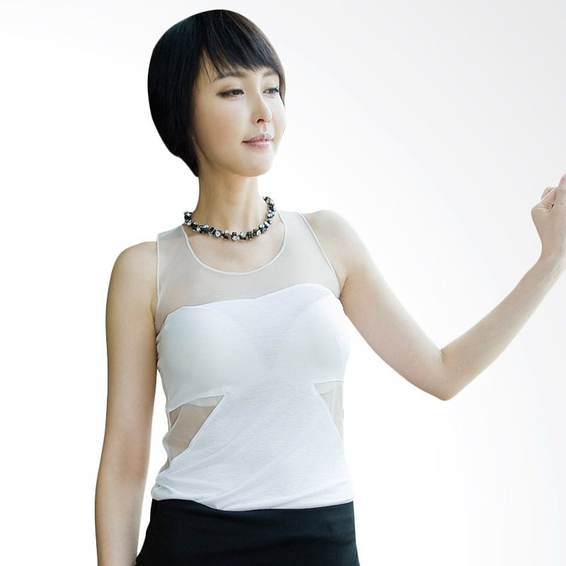 Kakuu Basic Sheer Patch Sleeveless White Atasan Wanita