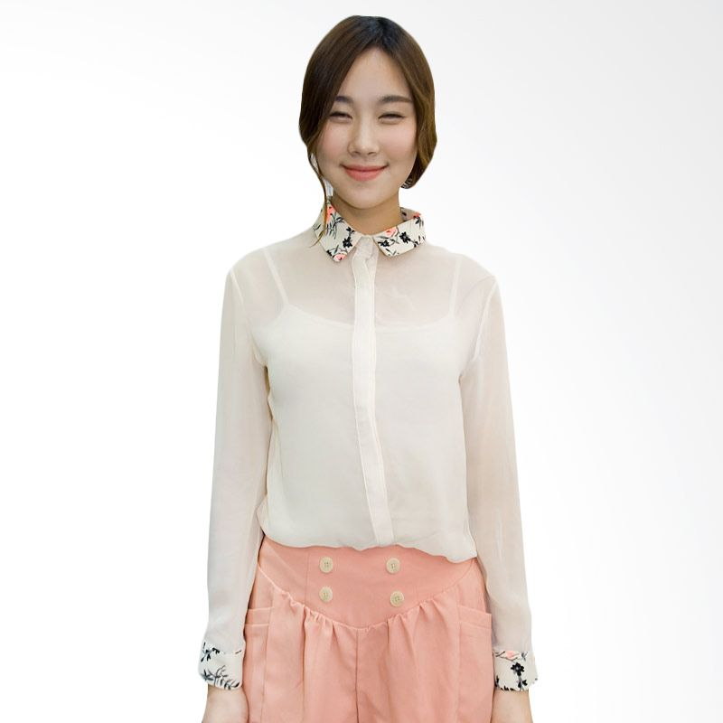 Kakuu Basic Shirt Collar Motif Transparent Beige