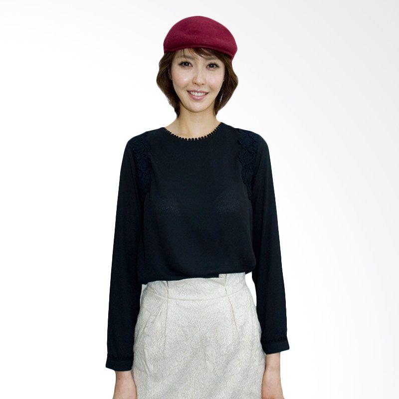 Kakuu Basic Shirt Shoulder Lace Point Black
