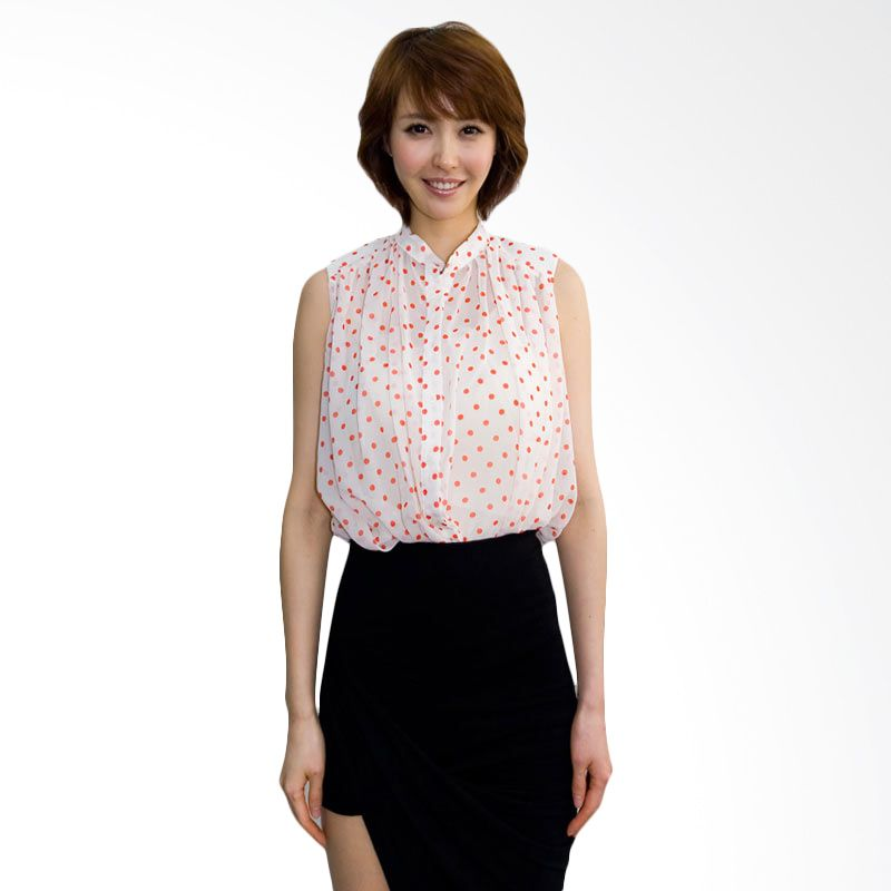 Kakuu Basic Shirt Shoulder Pad Polkadot Ivory