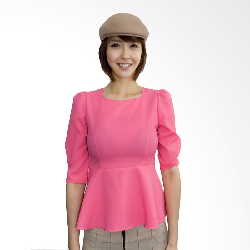 Kakuu Basic Shirt Square Neck Flare Pink