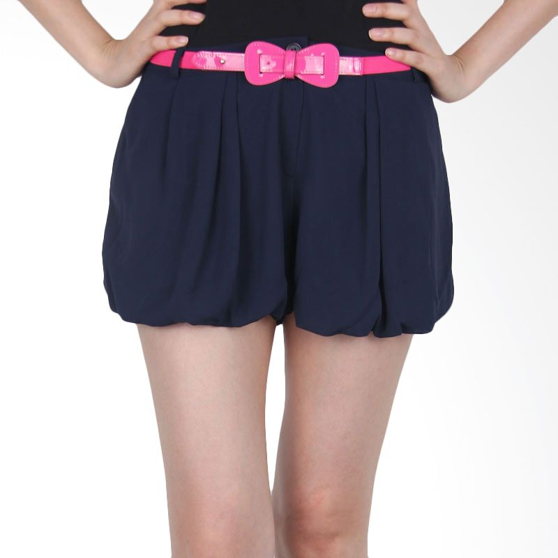 Kakuu Basic Short Pants Belt Set Balloon Shaped Navy