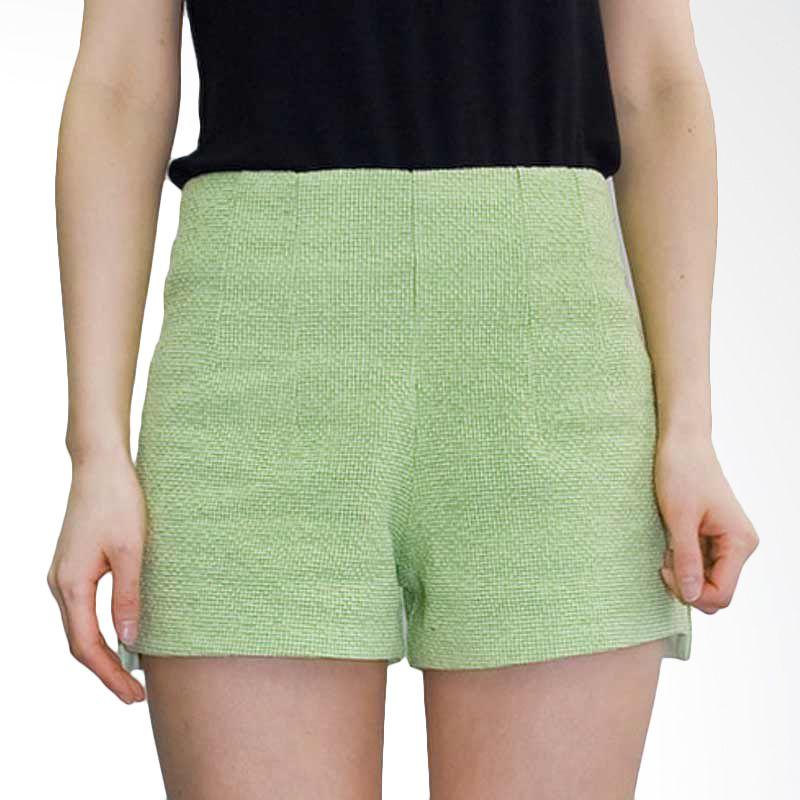 Kakuu Basic Short Pants Check Pattern Yellowish Green
