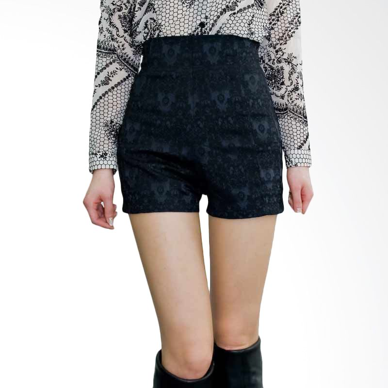 Kakuu Basic Short Pants Feminine Motif High Waist Black