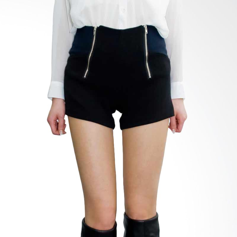 Kakuu Basic Short Pants Front Zipper 2 Color Black