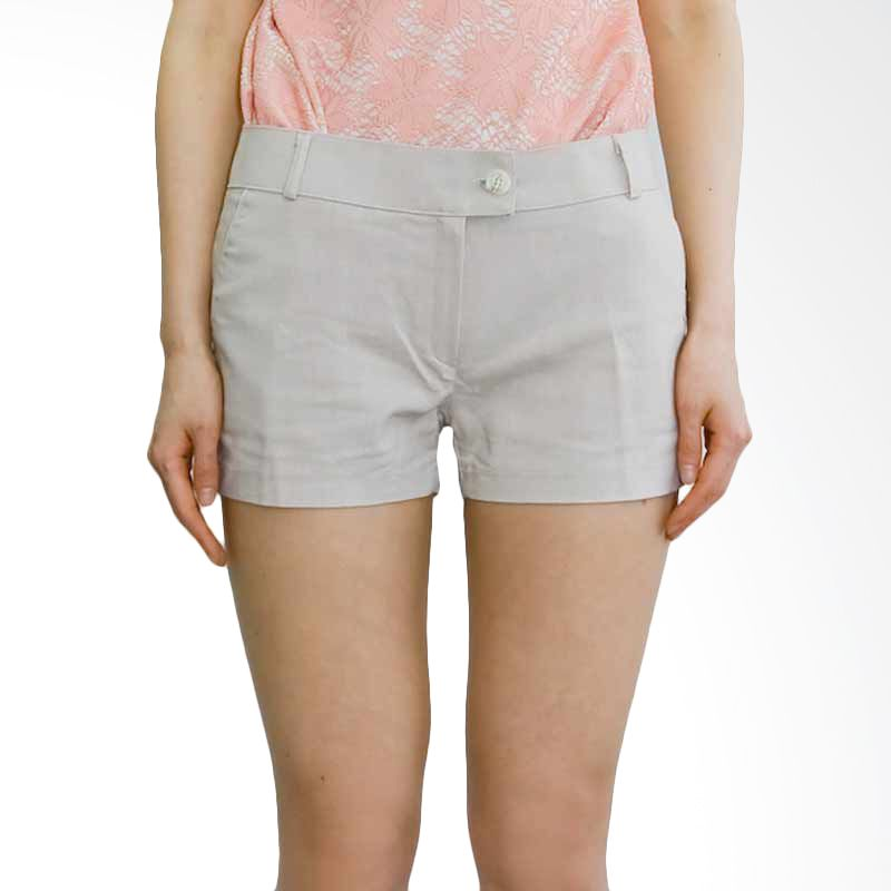 Kakuu Basic Short Pants Straight Cut Out Beige