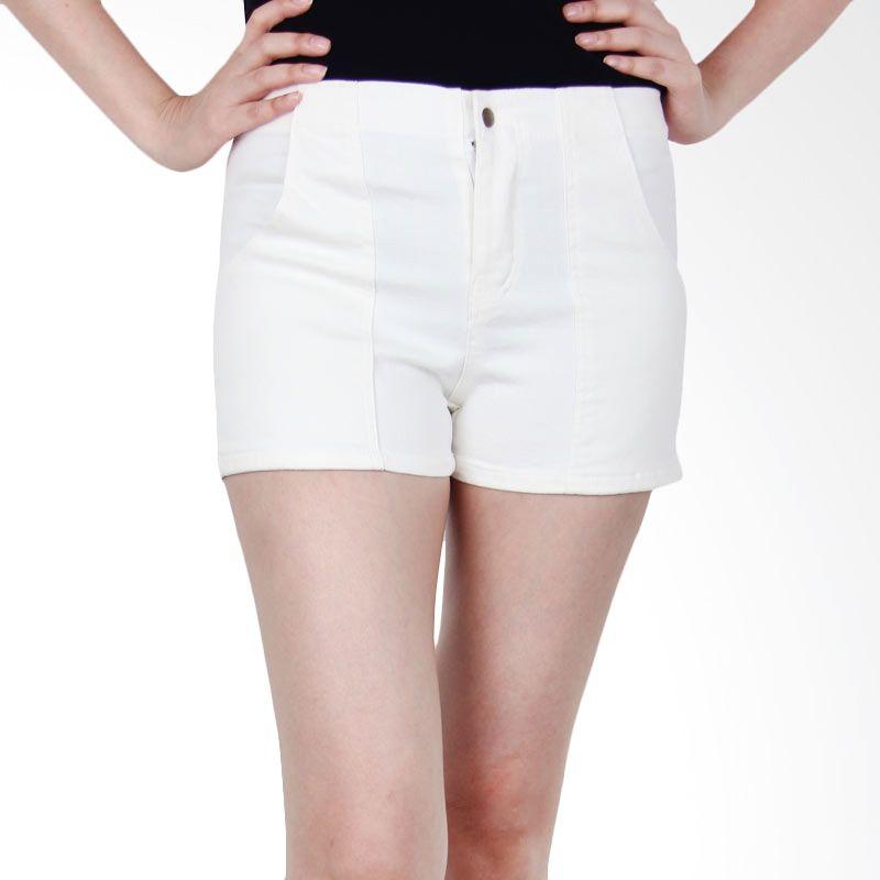 Kakuu Basic Short Pants Stretch Fabric Pastel Coloration Ivory