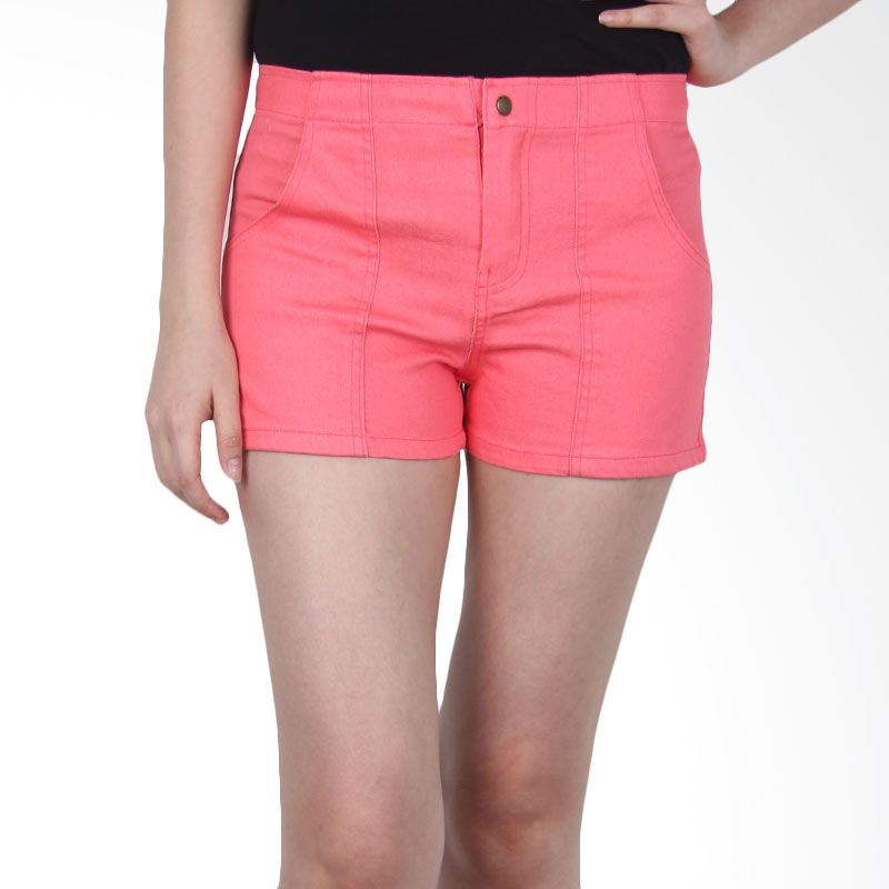Kakuu Basic Short Pants Stretch Pastel Color Deep Pink