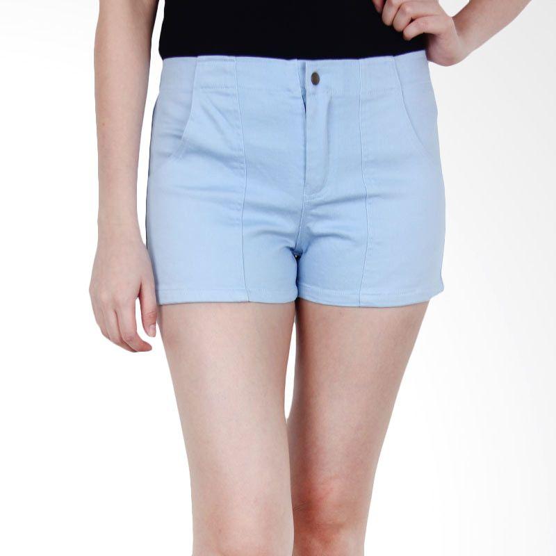 Kakuu Basic Short Pants Stretch Pastel Color Light Blue