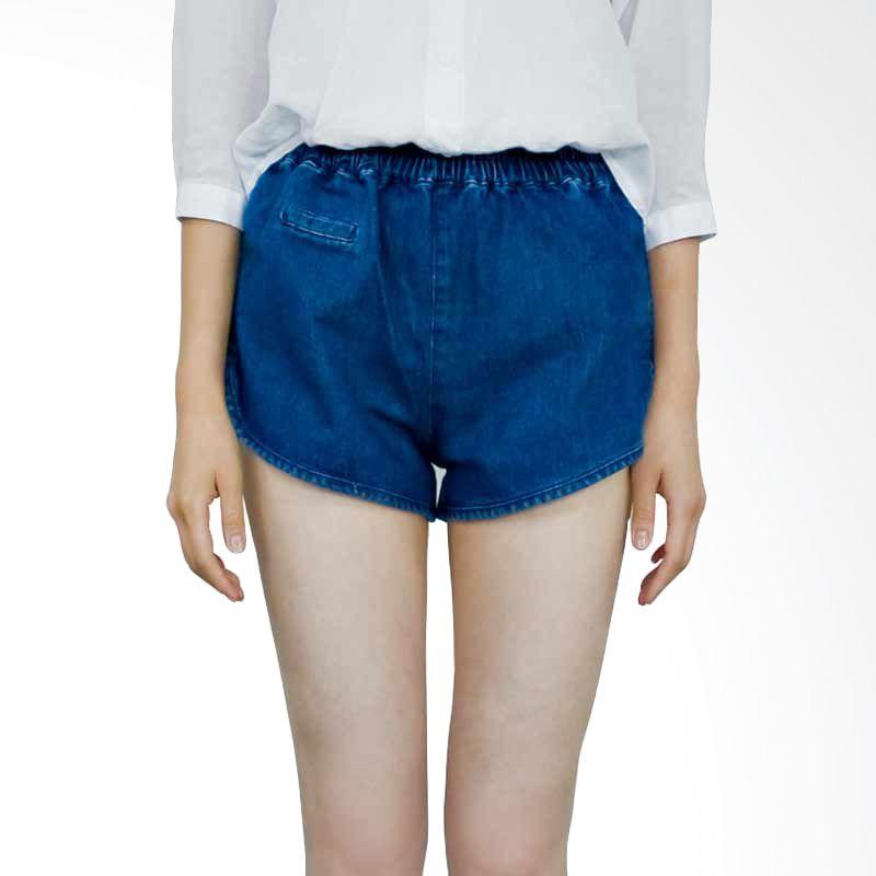Kakuu Basic Short Pants Waist Band Denim Blue