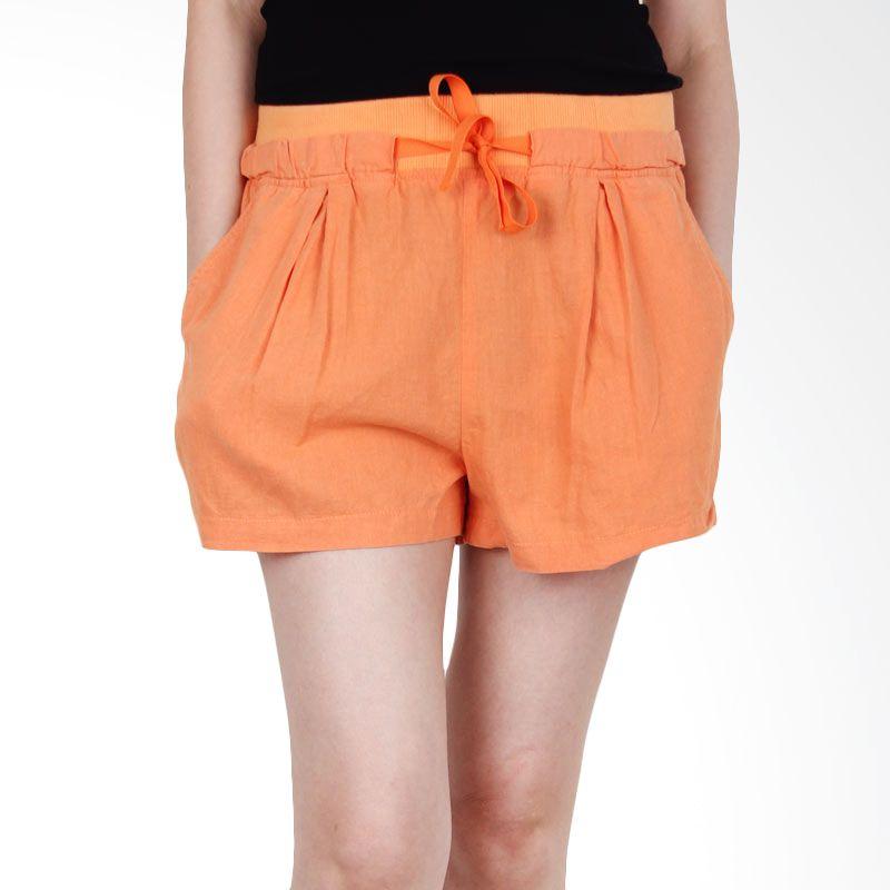 Kakuu Basic Short Pants Waist Banding Comfortable Flare Orange