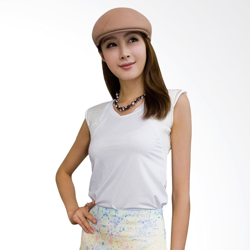 Kakuu Basic Shoulder Seam Slim Fit Ivory Atasan Wanita