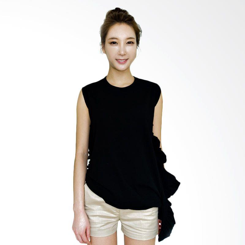 Kakuu Basic Side Frill Unbalance Black T-shirt Wanita