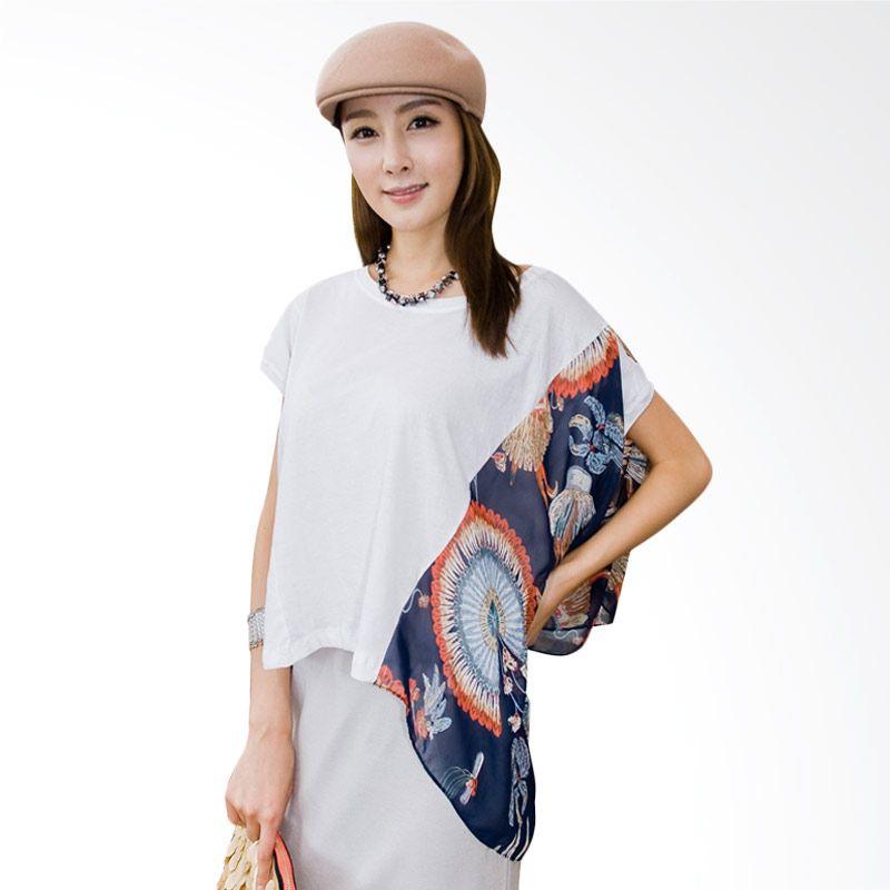 Kakuu Basic Side Layer Sleeve White Navy Atasan Wanita