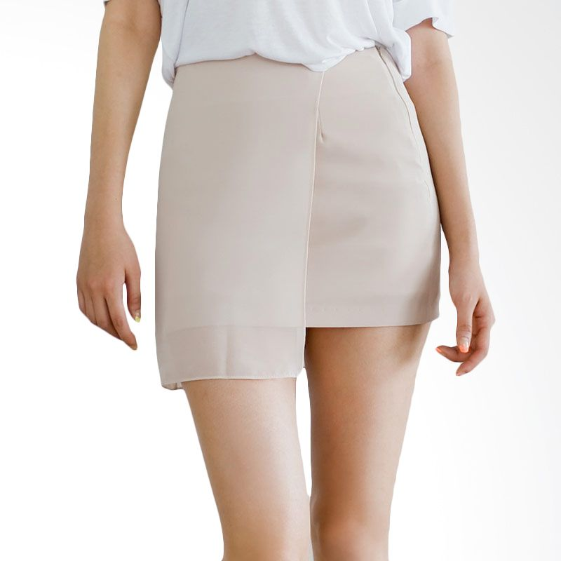 Kakuu Basic Rok 2 Layer Asymmetry Beige