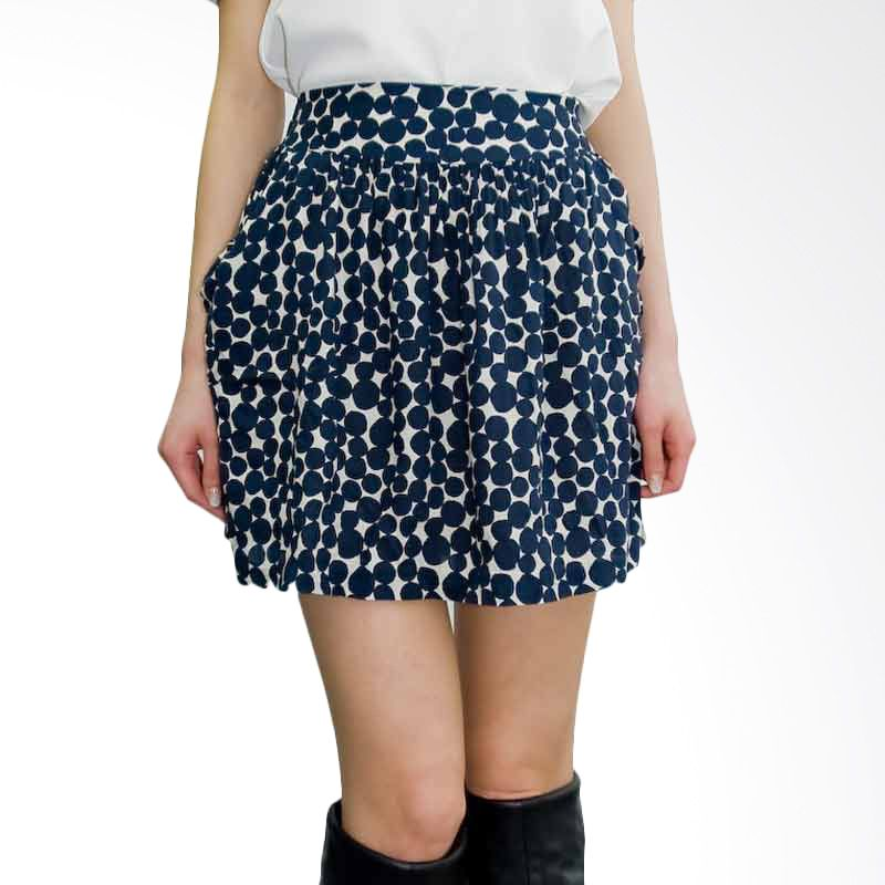 Kakuu Basic Skirt Banding Waist Polkadot Mini Navy