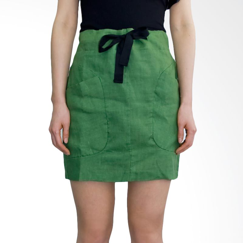 Kakuu Basic Skirt Black Ribbon Tie Khaki Green