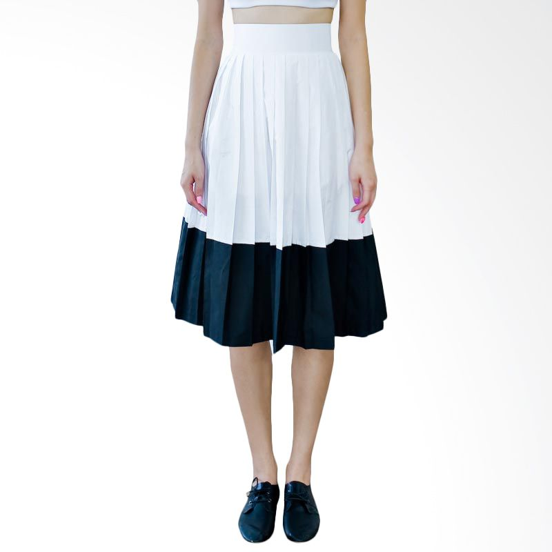 Kakuu Basic Rok Blocked Color Pleat White