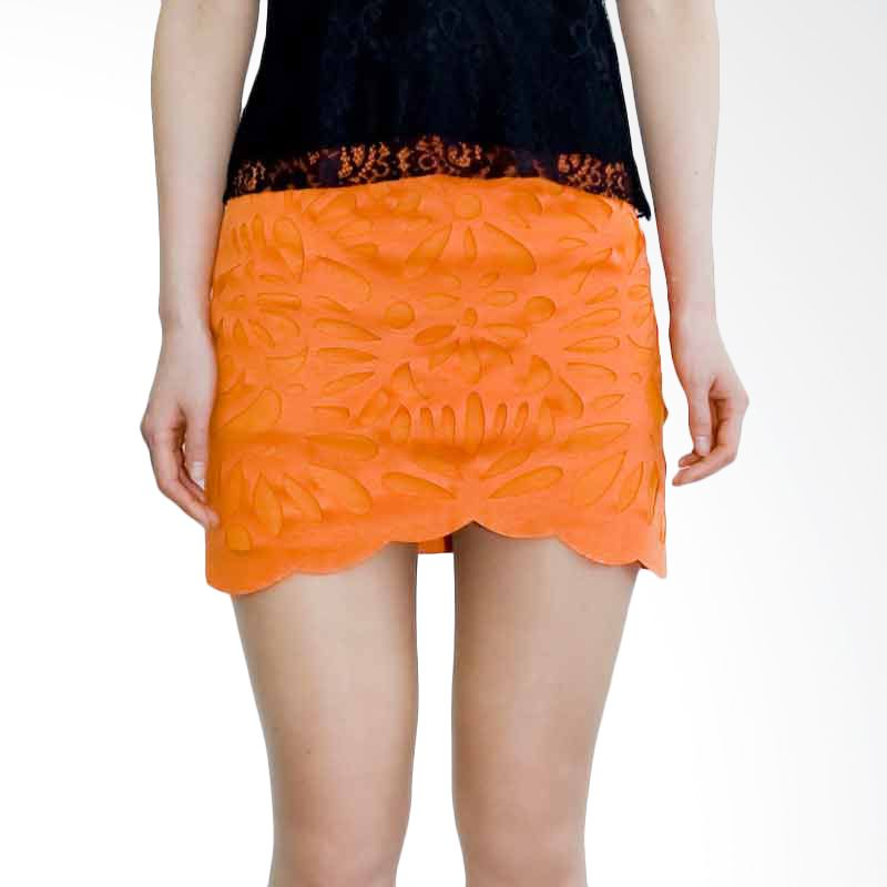 Kakuu Basic Skirt Flower Cut Pattern Orange