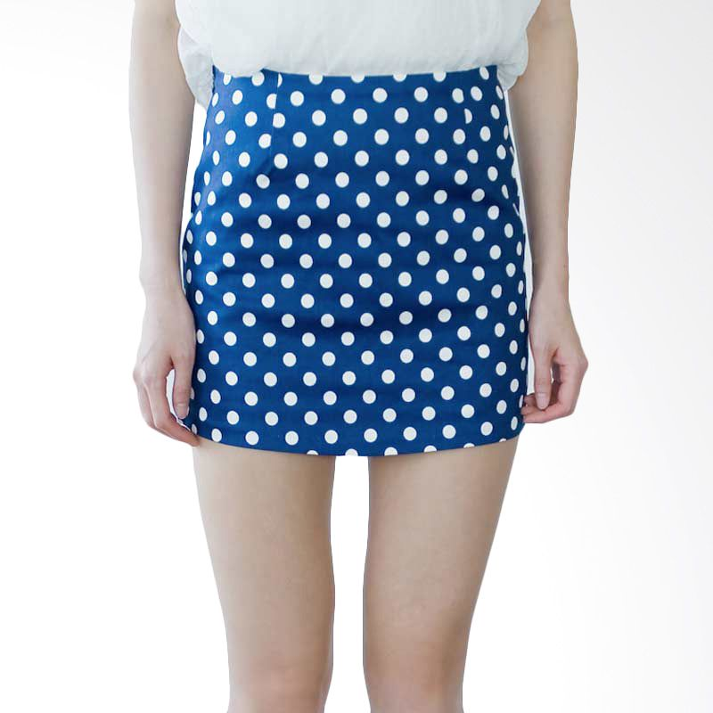 Kakuu Basic Rok Polkadot Denim Blue Tone