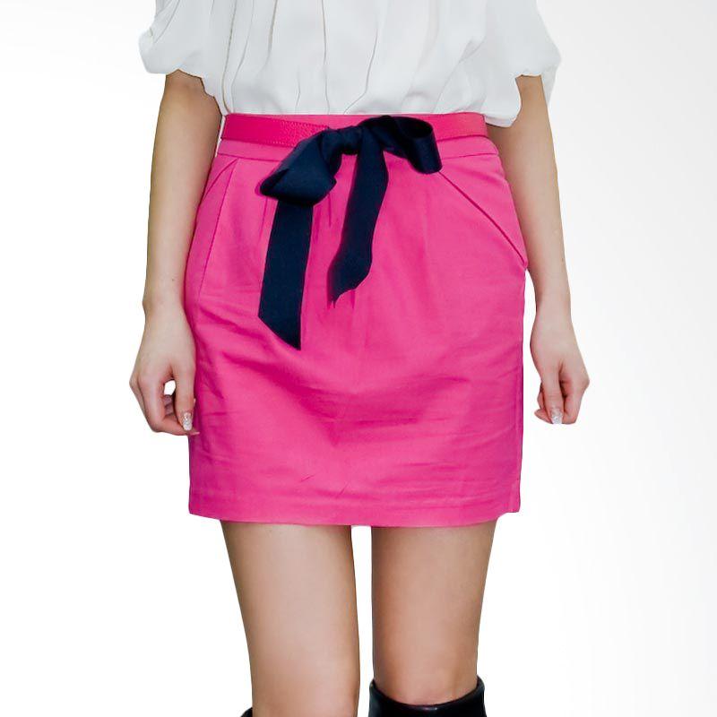 Kakuu Basic Skirt Ribbon Belt Set Deep Pink
