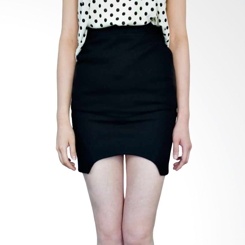 Kakuu Basic Skirt Round Cut Out Mini Black