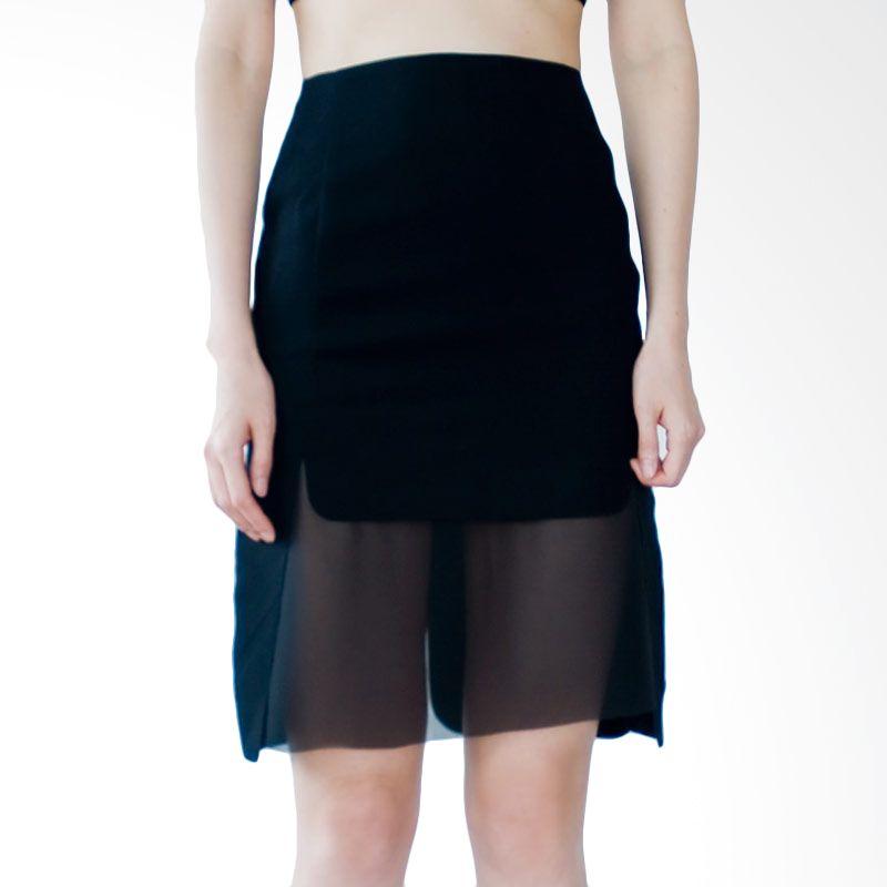 Kakuu Basic Rok Sheer Detailed Slim Black