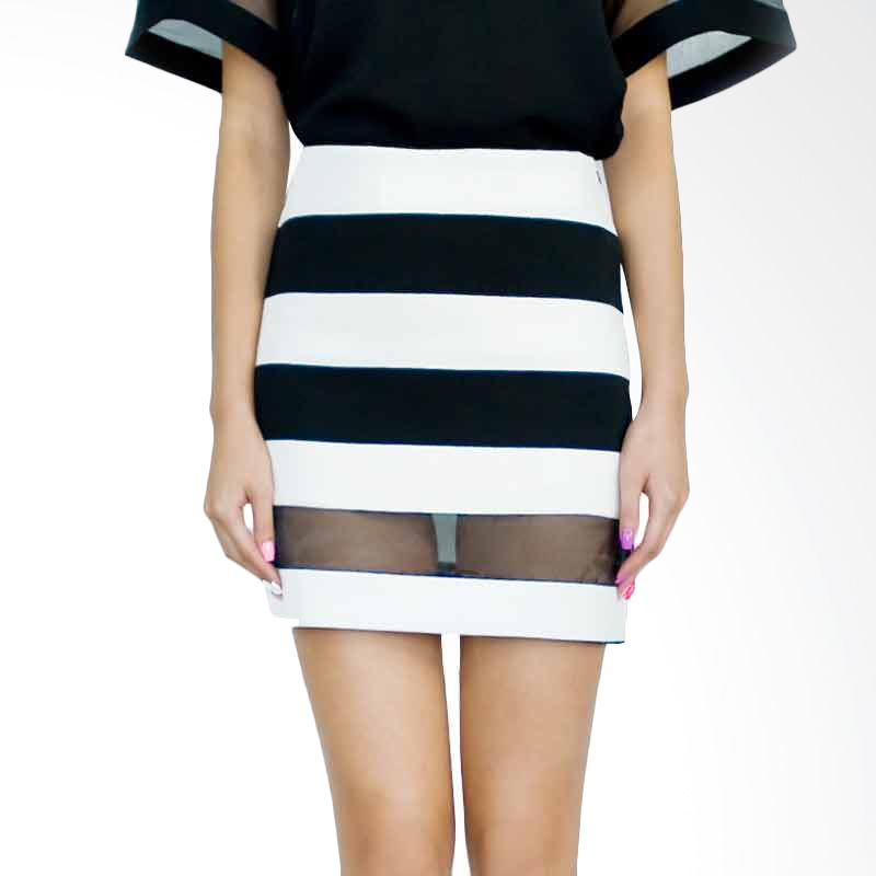 Kakuu Basic Skirt Sheer Panel Stripe Black Tone