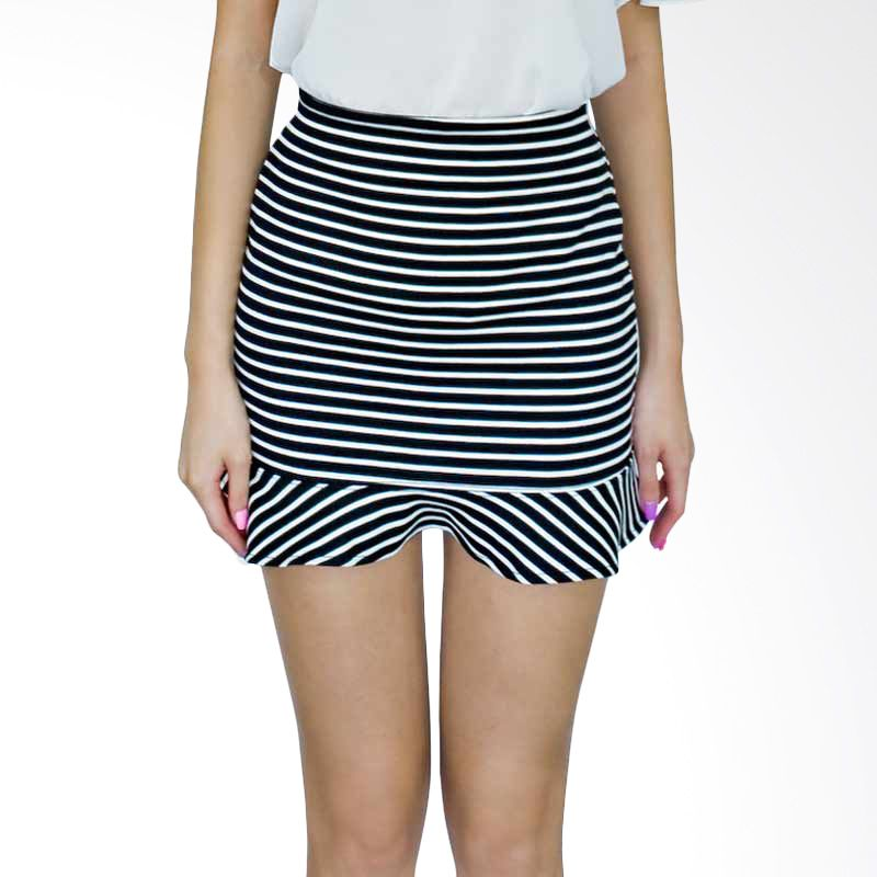 Kakuu Basic Skirt Stripe Frill Black Tone