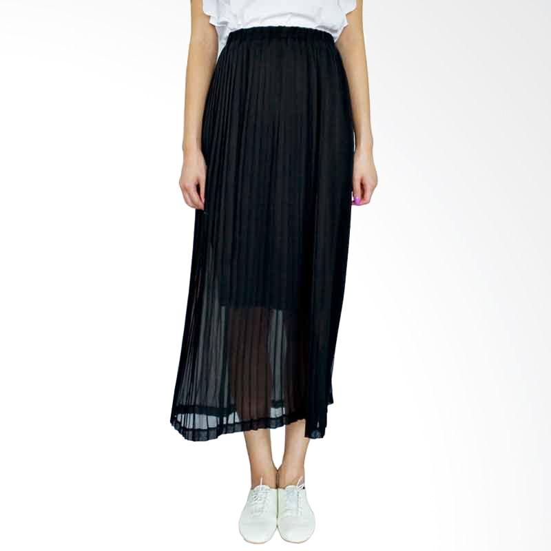 Kakuu Basic Skirt Waist Band Long Pleat Black