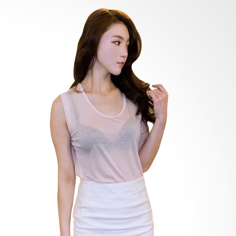 Kakuu Basic Sleeveless Light Pink T-shirt Wanita