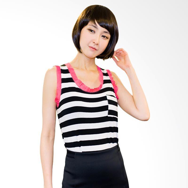 Kakuu Basic Stripe Sleeveless Black Tone T-shirt Wanita