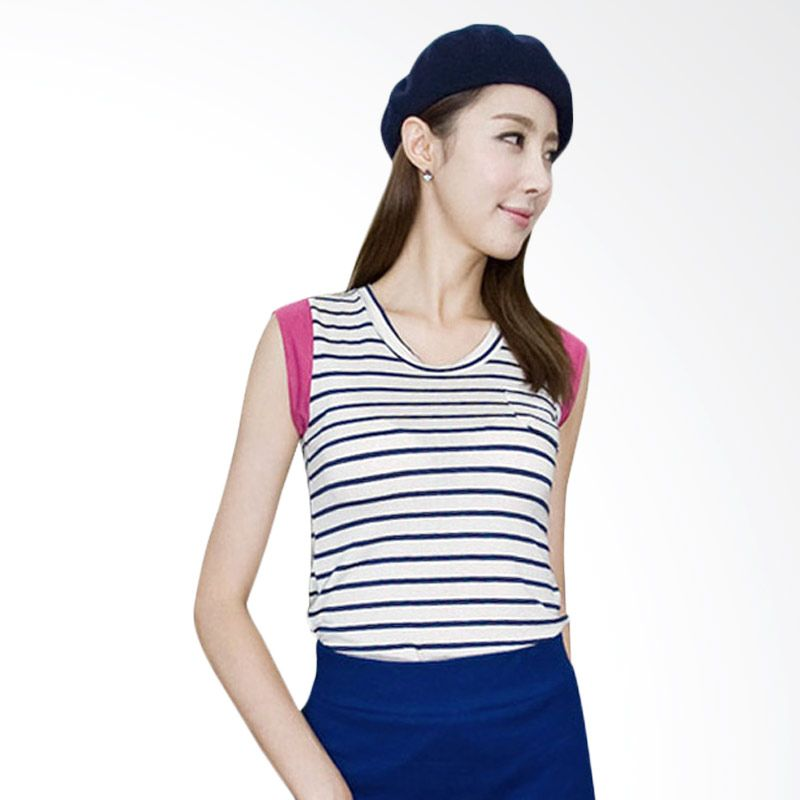 Kakuu Basic Stripes Navy Deep Pink Atasan Wanita
