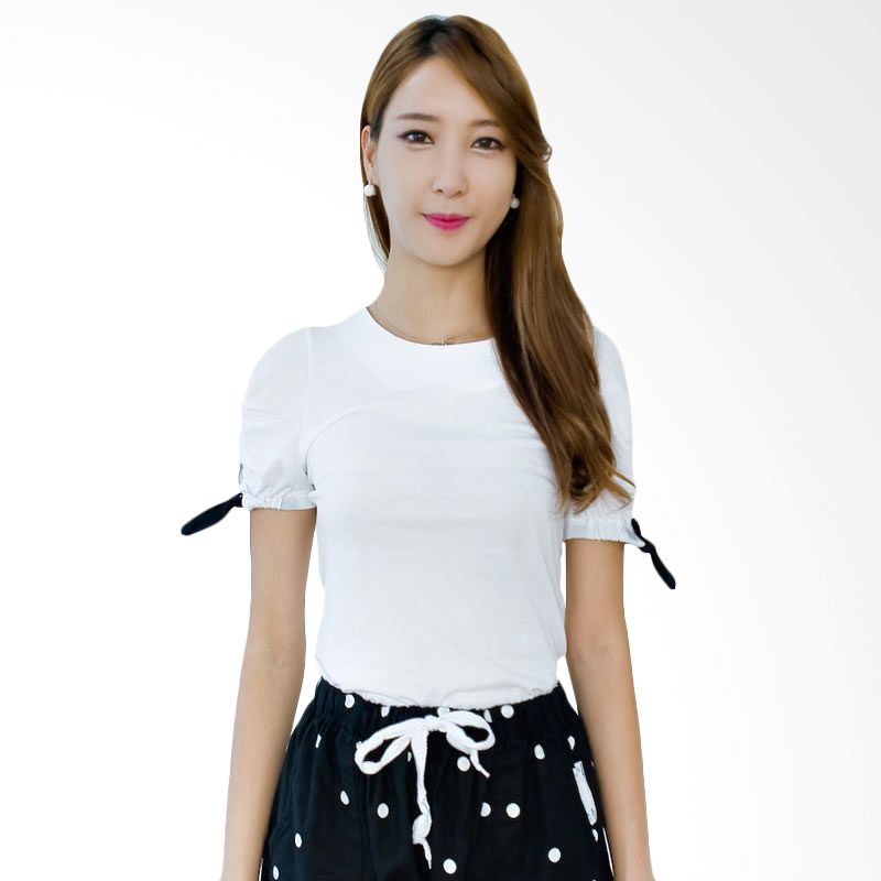Kakuu Basic T-shirt Black Ribbon Sleeve White