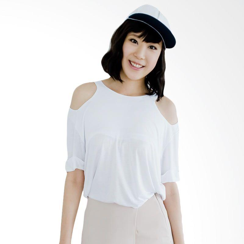 Kakuu Basic T-shirt Cut Out Shoulder White