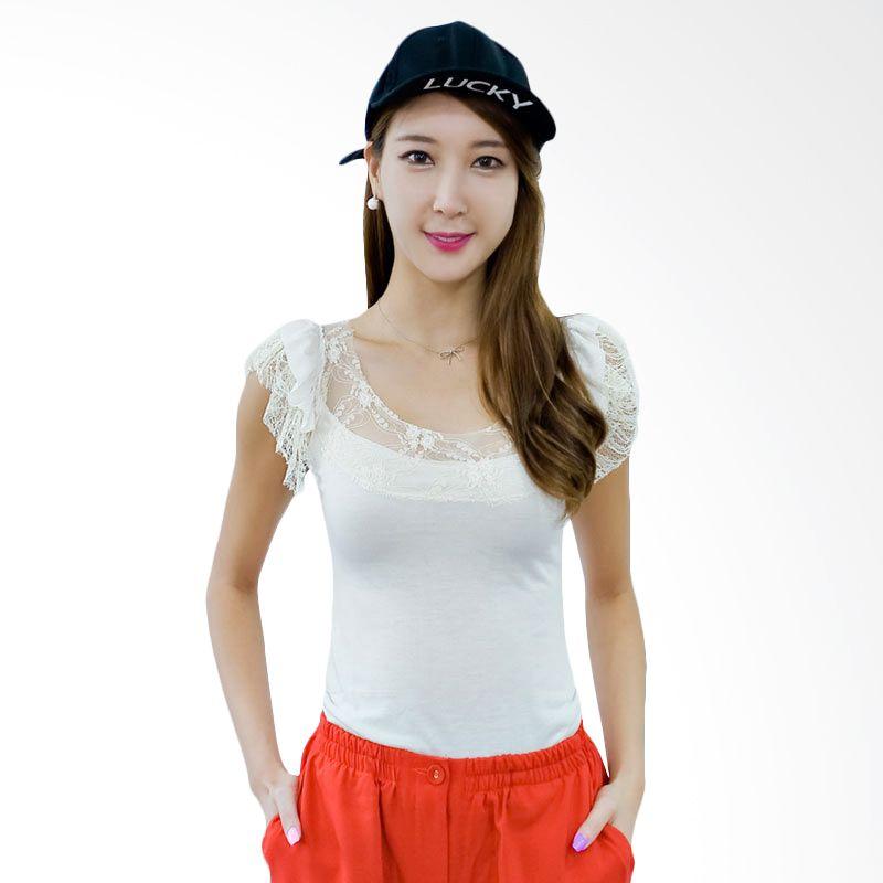 Kakuu Basic T-shirt Lace Sleeve Cream