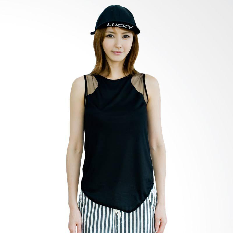 Kakuu Basic T-shirt Mesh Detailed Sleeveles Black