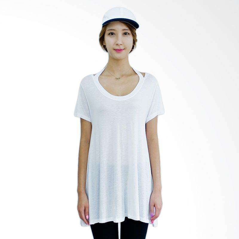 Kakuu Basic T-shirt Neck String White