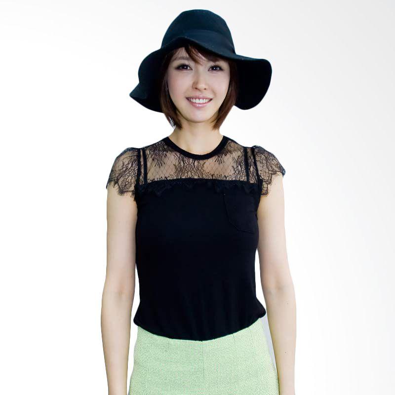 Kakuu Basic Tshirt Chest Lace Design Black