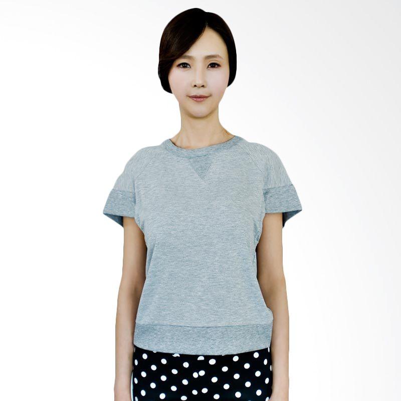 Kakuu Basic Tshirt Cross Back Crop Gray
