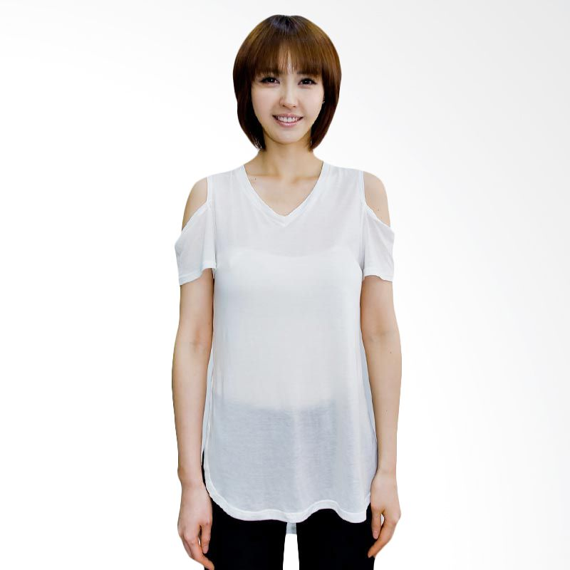 Kakuu Basic Tshirt Shoulder Open Uneven Broken White