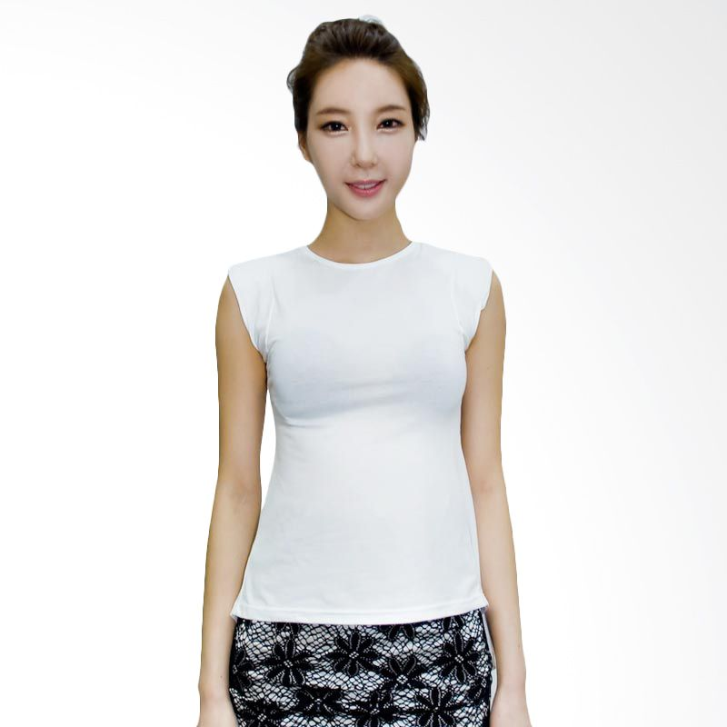 Kakuu Basic Tshirt Shoulder Pad Unbalance White