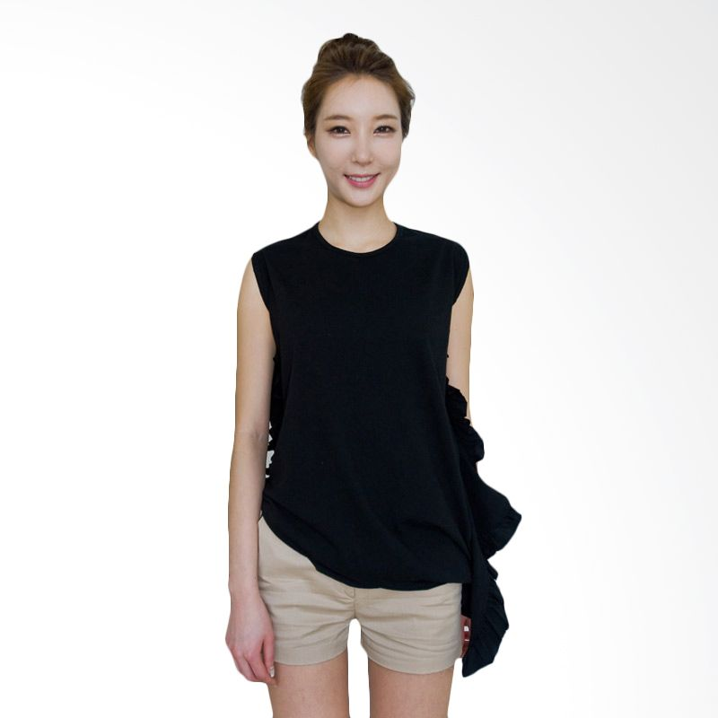 Kakuu Basic Tshirt Side Frill Unbalance Black